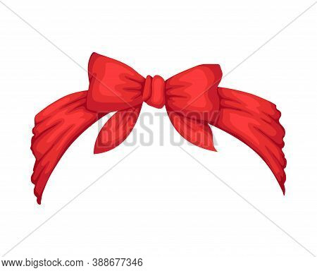 Retro Headband For Woman. Red Bandana For Hairstyle. Windy Hair Dressing With Bow. Mockup Of Decorat
