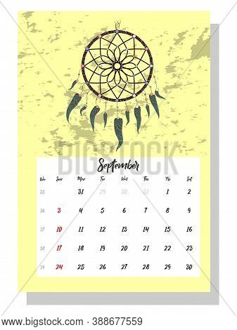 Colorful Cute Monthly Boho Calendar 2021 With Dream Catchers, Boho Owls, Arrows, Feathers, Inspirati