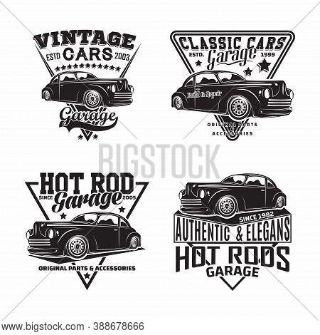 Vintage Monochrome Hot Rod Garage Logo Design