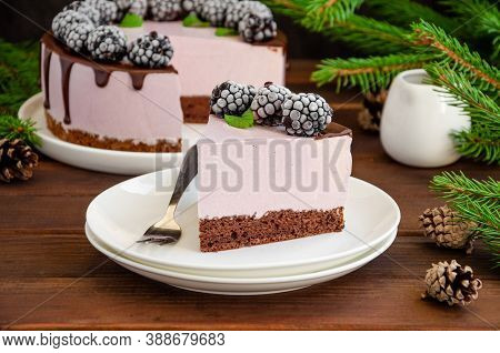 Blackberry Cream Mousse Cake (no Baked Cheesecake) With Chocolate Glaze And Frozen Blackberry On Top