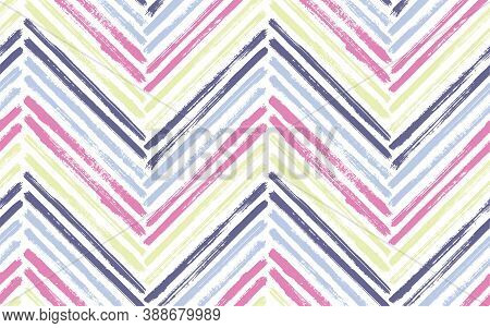 Ethnic Zig Zag Interior Print Vector Seamless Pattern. Paintbrush Strokes Geometric Stripes. Hand Dr