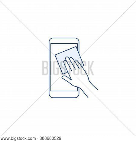 Phone Surface Disinfection Thin Line Icon. Mobile Phone With Virus Germs. Outline Human Hand Clean D