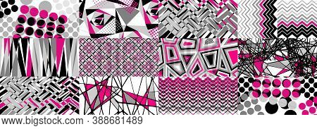 Futuristic Abstract Background. Pop Art Geometric Tiles. Technological Design. Memphis Vector In Bri