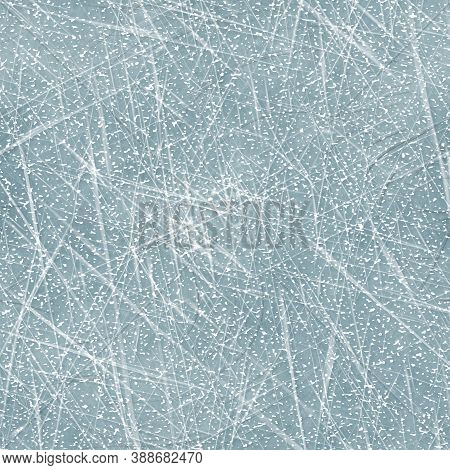 Seamless Scratched Ice Surface Background. Frozen Water Skating Line Marks On Cool Blue Texture. Win
