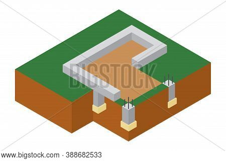 Isometric Foundation Cutaway Vector Illustration. Construction Of Building. Architectural Technology
