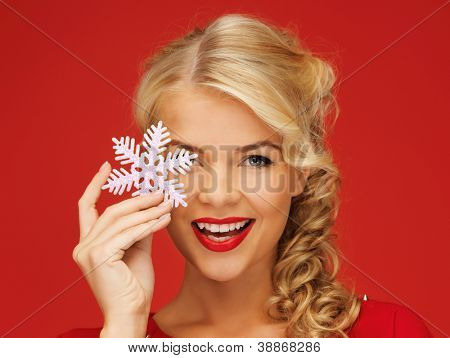 picture of lovely woman in red dress with snowflake