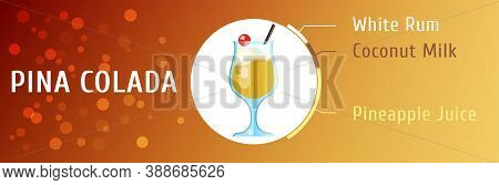 Pina Colada Cocktail Ingredients Vector Flat Stile