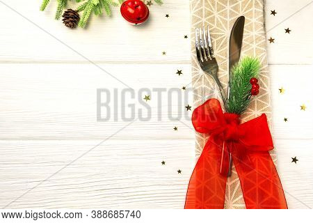 Christmas Dinner Table Place Setting, Festive Background