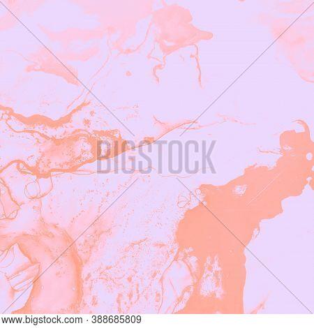 Vibrant Composition. Translucent Paint. Alcohol Ink Banner. Soft, Pink Vibrant Composition. Closeup