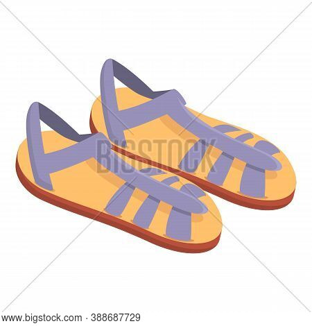 Elegant Sandals Icon. Cartoon Of Elegant Sandals Vector Icon For Web Design Isolated On White Backgr