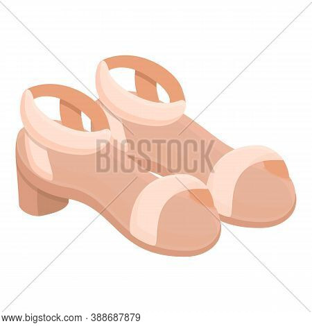 Opentoe Sandals Icon. Cartoon Of Opentoe Sandals Vector Icon For Web Design Isolated On White Backgr