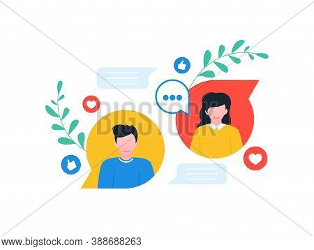 Conversation Concept. Dialogue, Contact, Conversational Exchange Between Two Individuals.