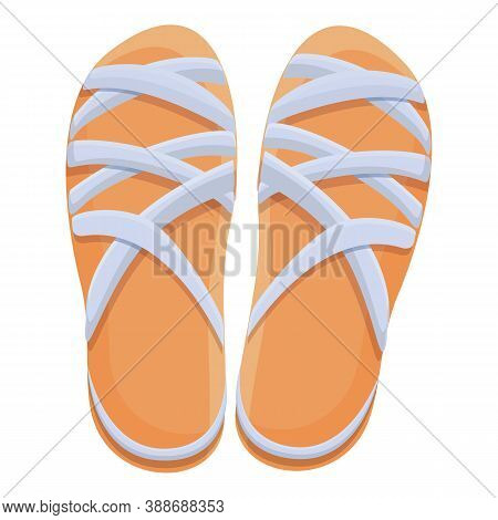 Heel Sandals Icon. Cartoon Of Heel Sandals Vector Icon For Web Design Isolated On White Background