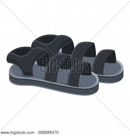 Black Sandals Icon. Cartoon Of Black Sandals Vector Icon For Web Design Isolated On White Background