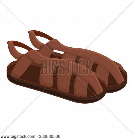Summer Man Sandals Icon. Cartoon Of Summer Man Sandals Vector Icon For Web Design Isolated On White