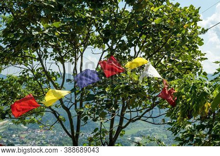Multicolored Buddhist Prayer Flags With Mantras On A Background Of Green Tree Leaves. Traditional Ti