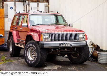 Iceland - July 4, 2014: Legendary Jeep Grand Wagoneer (based On Cherokee Xj) Suv Car With Large All-