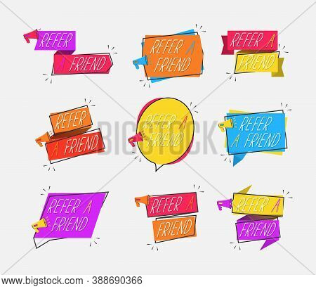 Refer A Friend Icons Isolated On White Background. Refer A Friend Set Of Marketing Design Badges Wit