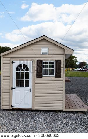 New Shed Grey Shed Wooden Garden Tools Shed Painted In Gray Color