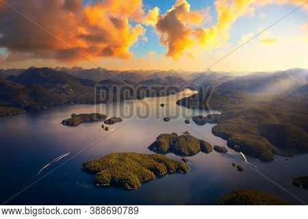 Beautiful Aerial View Of The West Coast On Vancouver Island. Picture Taken In Bligh Island Marine Pr
