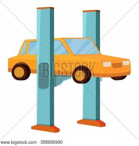 Car Lift Machine Icon. Cartoon Of Car Lift Machine Vector Icon For Web Design Isolated On White Back