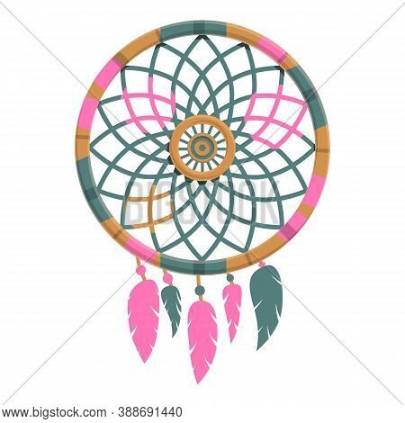 Shaman Dream Catcher Icon. Cartoon Of Shaman Dream Catcher Vector Icon For Web Design Isolated On Wh
