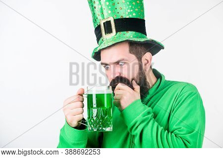 Green Beer Mug. Drinking Beer Part Of Celebration. Irish Pub. Alcohol Consumption Integral Part Sain