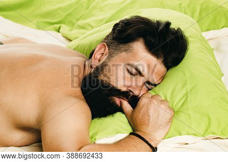 Bored Sleepless And Tired In Bed. Man Sleep In Bed Alone. Happy To Sleep. Sleep Disorders Concept. G