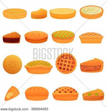 Apple Pie Icons Set. Cartoon Set Of Apple Pie Vector Icons For Web Design