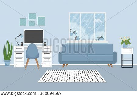 Modern Interior In Elegant Colours With Workplace, Computer, Lamp, Cozy Sofa, Chair, Plants And Wind