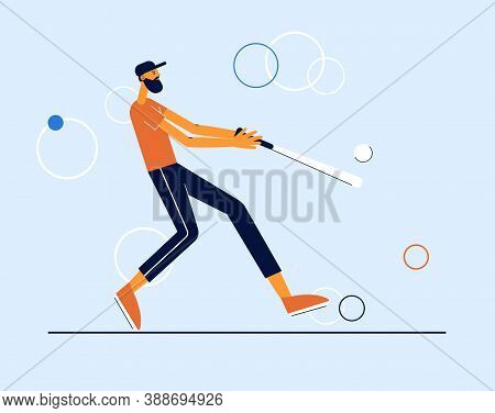 Baseball Player Hits The Ball With A Bat. Modern Vector Sport Illustration.