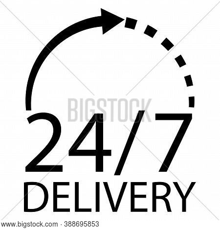 Delivery Service. Shipping 24 Hours 7 Days A Week. Clock Icon. Work Seven Days A Week. Vector Illust