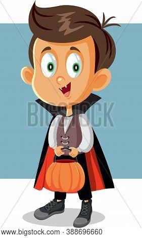 Halloween Boy In Vampire Costume Going Trick Or Treat
