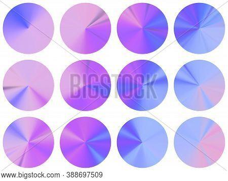 Blue Purple Circular Metallic Gradient Ui Button Elements Vector Set. Polished Modern Medal Shapes.