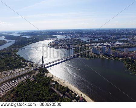 Moscow Bridge across Dnepr River, photo from drone. Kiev, Ukraine