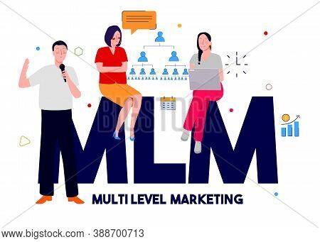 Multi Level Marketing Concept Men Hold Microphone Presentation Women Sit On Text Mlm With Flat Color