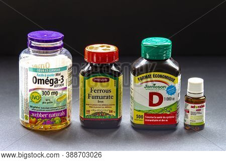 Calgary, Alberta, Canada. Oct, 6, 2020. Popular Brands Of Basic Essential Vitamins.