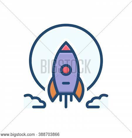 Color Illustration Icon For Moonshot Launch Rocket Start Begin Startup Technology