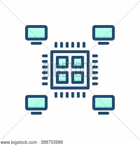Color Illustration Icon For Multiprocessing Multitasking Performance Planning Concept Applications T