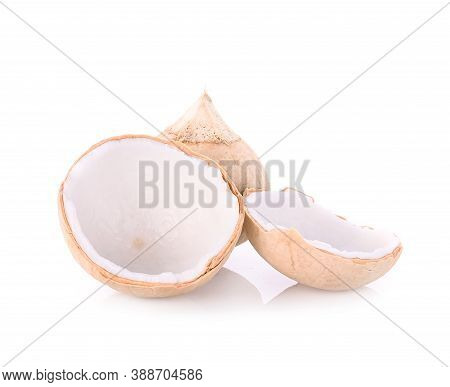 Perfume Coconut And Half Coconut Isolated On White Background