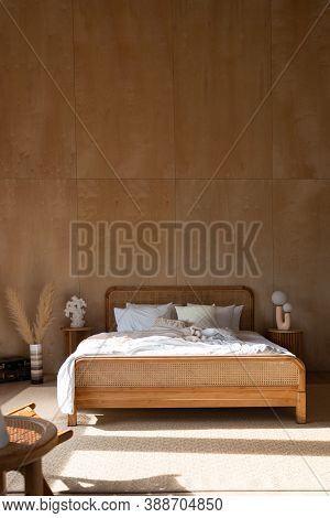 Stylish Bedroom Corner With Rattan Headboard And Bed With Soft Pillows Setting With White Pillows Pl