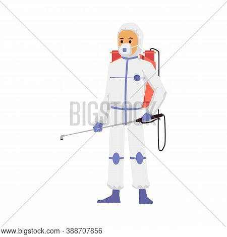 Exterminator Of Insects Making Disinfection Flat Vector Illustration Isolated.