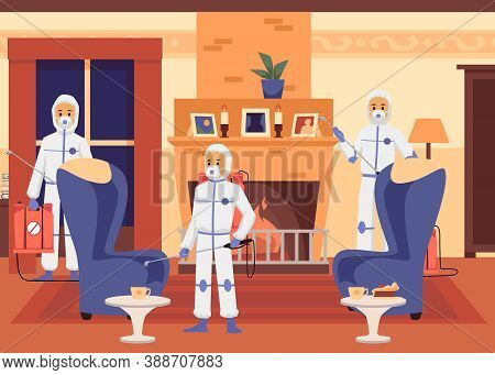 Exterminators Poisoning Insects Inside House, Flat Cartoon Vector Illustration