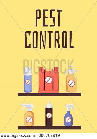 Pest Control Supplies Service Poster, Flat Cartoon Vector Illustration