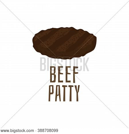 Beef Patty Isolated On White Background. Grilled Burger Meat Cutlet