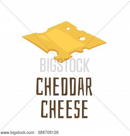 Piece Of Firm Yellow Cheddar Cheese, Cartoon Flat Vector Illustration Isolated.