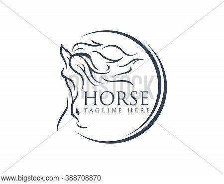 Abstract Luxury Horse Symbol Logo Design. Animal Logo Design Illustration. Graphic Design Element.