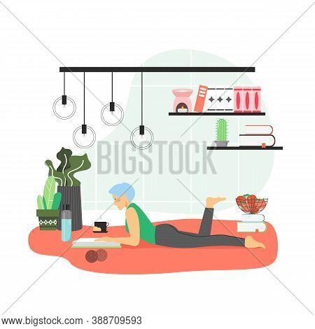 Girl Enjoying Free Time With Reading Book At Home, Flat Vector Illustration. Hobbies And Leisure Act