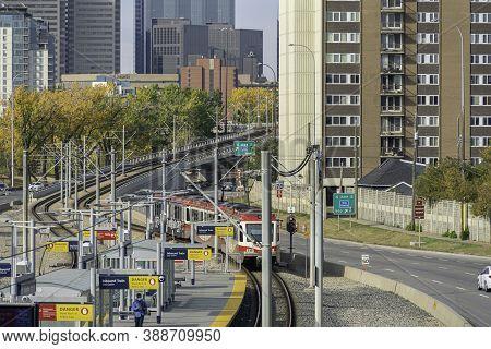 4 October 2020 - Calgary Alberta Canada - Calgary Transit Lrt Train In Station