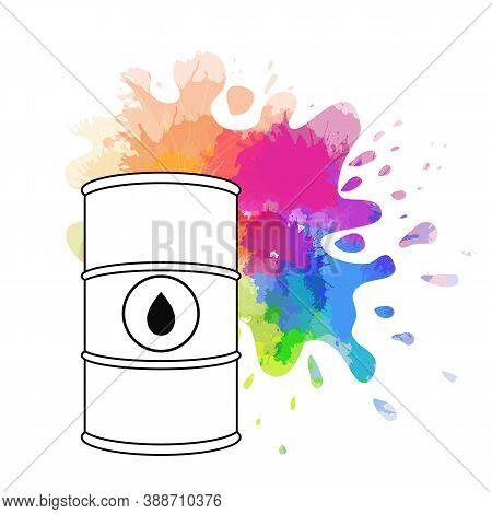 Spilled Rainbow Oil. Vector Outline Illustration Of Oil Barrel, Oil Splash And Drops Around. Waterco
